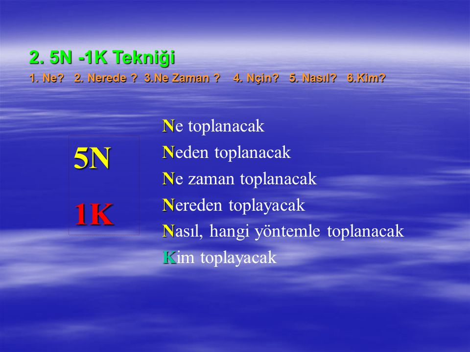 5N 1K 2. 5N -1K Tekniği Ne toplanacak Neden toplanacak