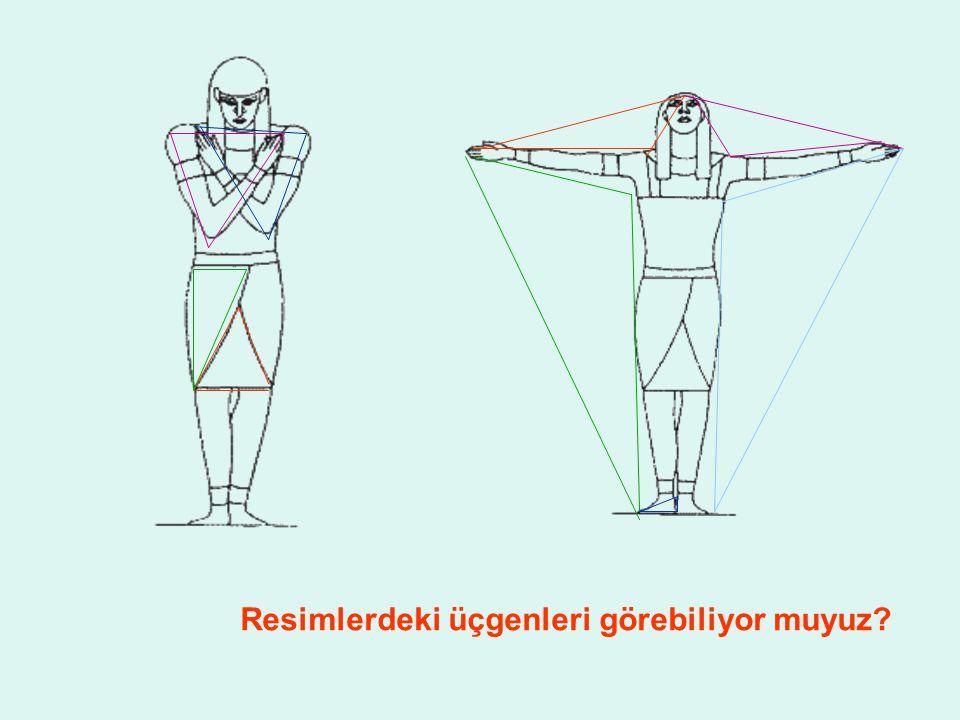 Resimlerdeki üçgenleri görebiliyor muyuz
