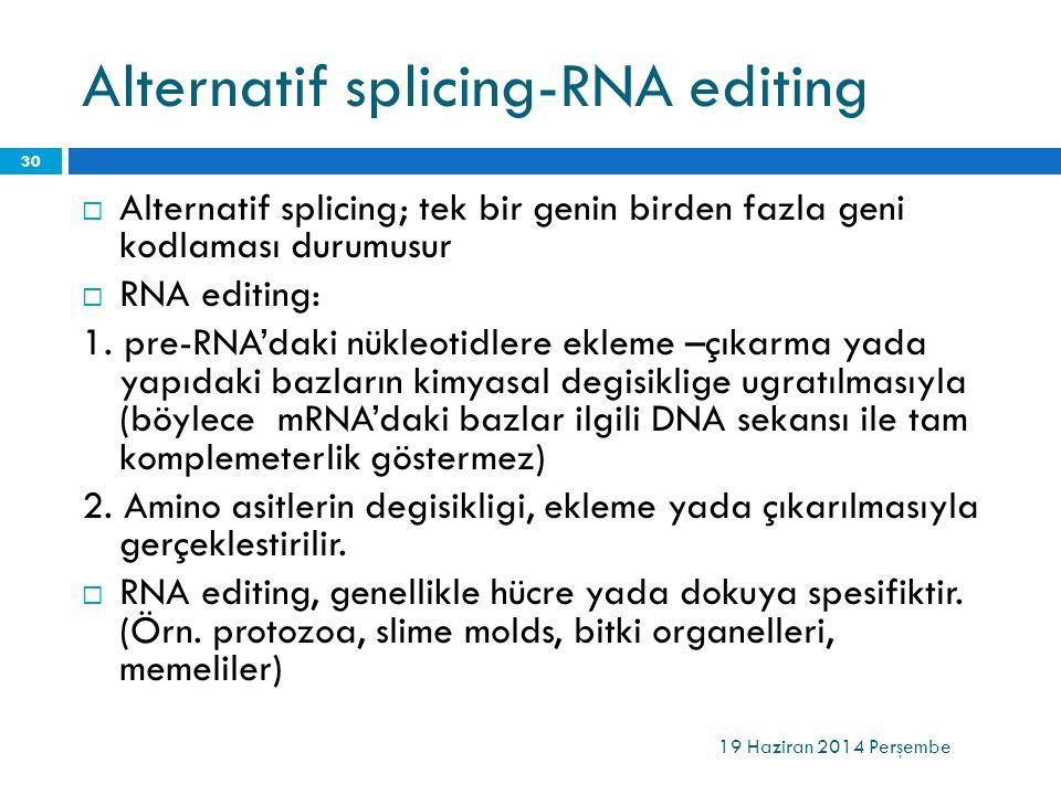 Alternatif splicing-RNA editing