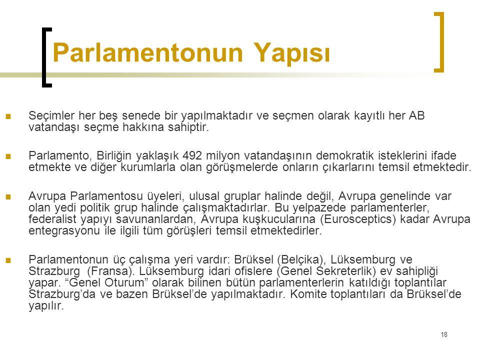 Parlamentonun Yapısı Seçimler her beş senede bir yapılmaktadır ve seçmen olarak kayıtlı her AB vatandaşı seçme hakkına sahiptir.