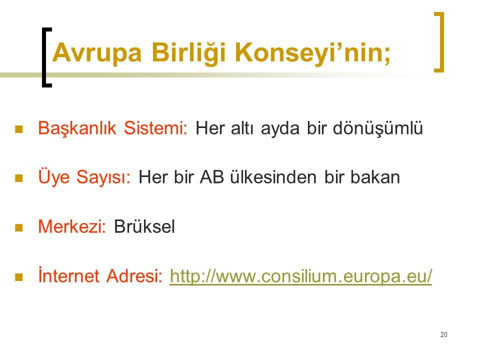Avrupa Birliği Konseyi'nin;