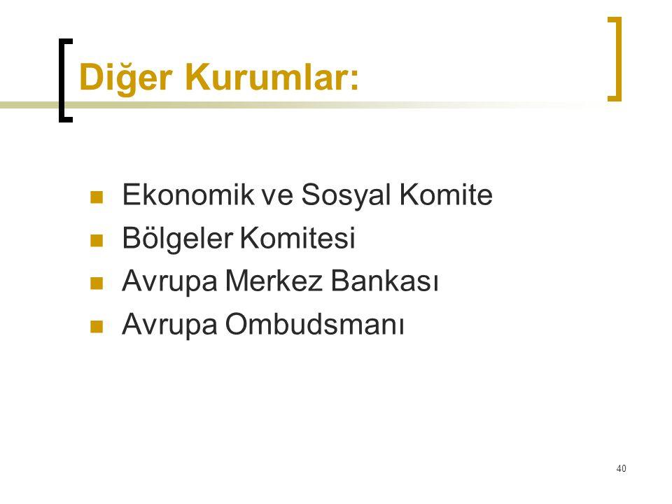 Diğer Kurumlar: Ekonomik ve Sosyal Komite Bölgeler Komitesi
