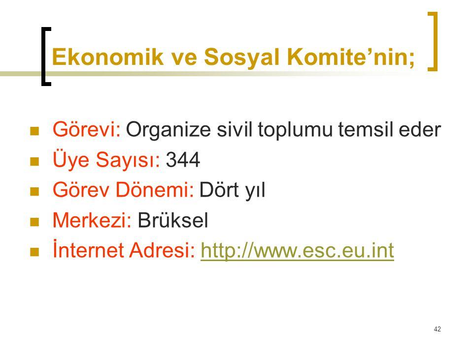 Ekonomik ve Sosyal Komite'nin;