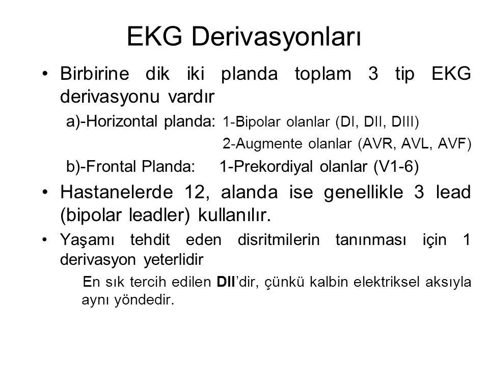 EKG Derivasyonları Birbirine dik iki planda toplam 3 tip EKG derivasyonu vardır. a)-Horizontal planda: 1-Bipolar olanlar (DI, DII, DIII)