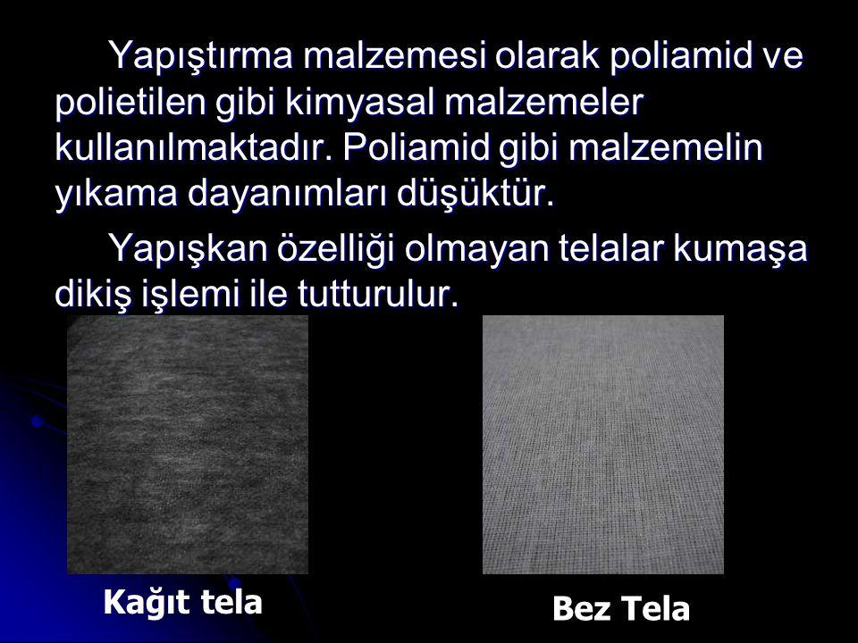 Yapıştırma malzemesi olarak poliamid ve polietilen gibi kimyasal malzemeler kullanılmaktadır. Poliamid gibi malzemelin yıkama dayanımları düşüktür. Yapışkan özelliği olmayan telalar kumaşa dikiş işlemi ile tutturulur.