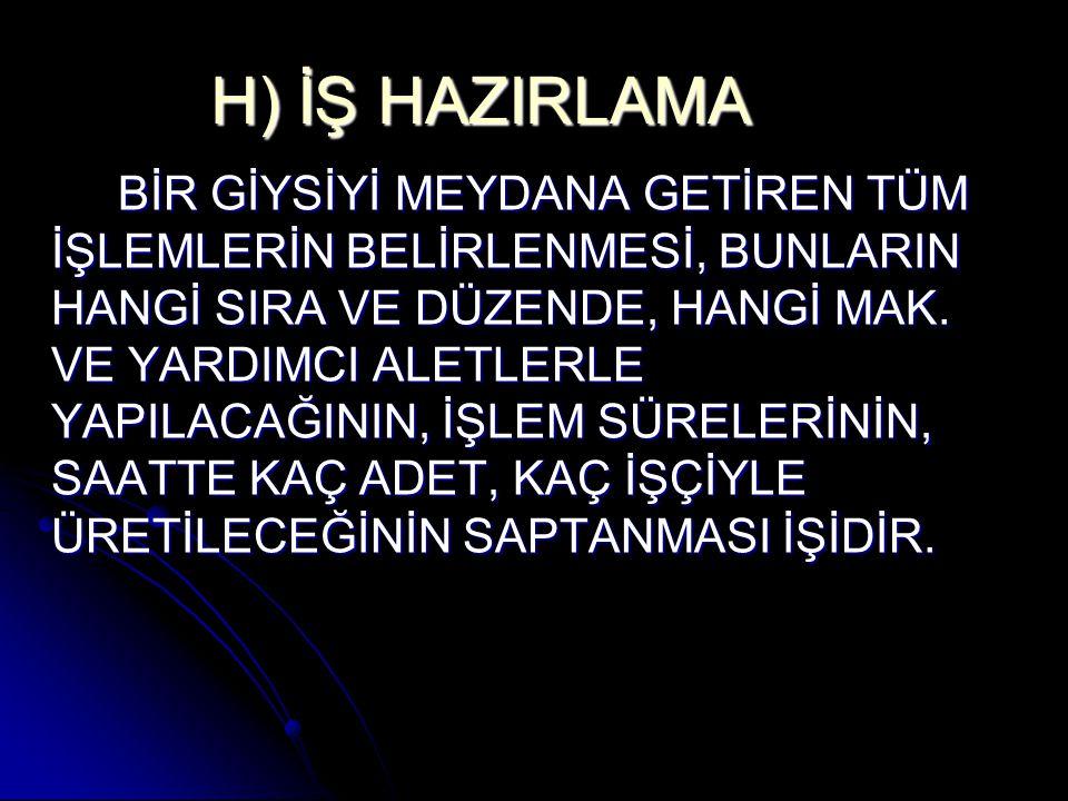 H) İŞ HAZIRLAMA