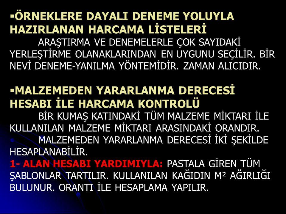 ÖRNEKLERE DAYALI DENEME YOLUYLA HAZIRLANAN HARCAMA LİSTELERİ