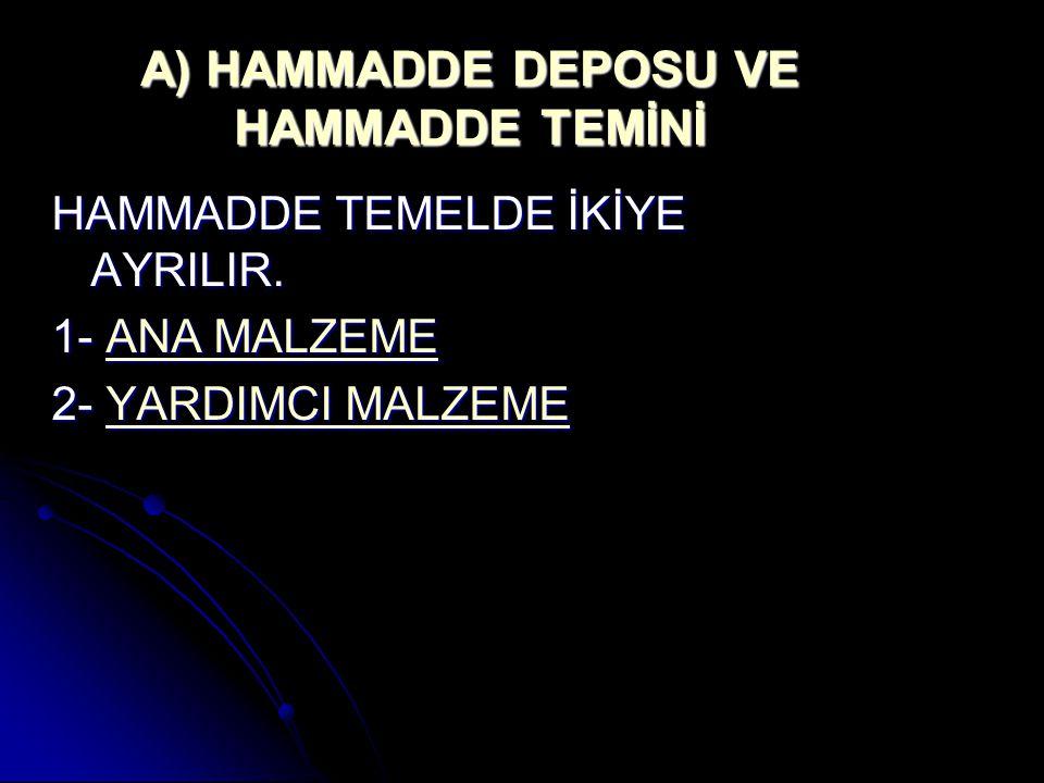 A) HAMMADDE DEPOSU VE HAMMADDE TEMİNİ