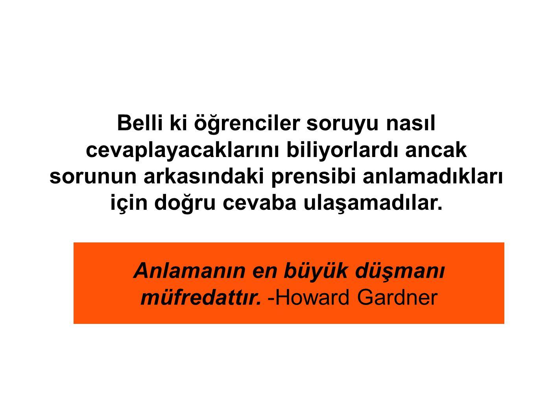 Anlamanın en büyük düşmanı müfredattır. -Howard Gardner