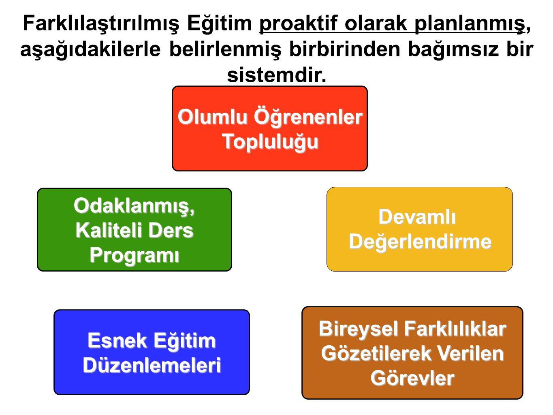 Farklılaştırılmış Eğitim proaktif olarak planlanmış, aşağıdakilerle belirlenmiş birbirinden bağımsız bir sistemdir.
