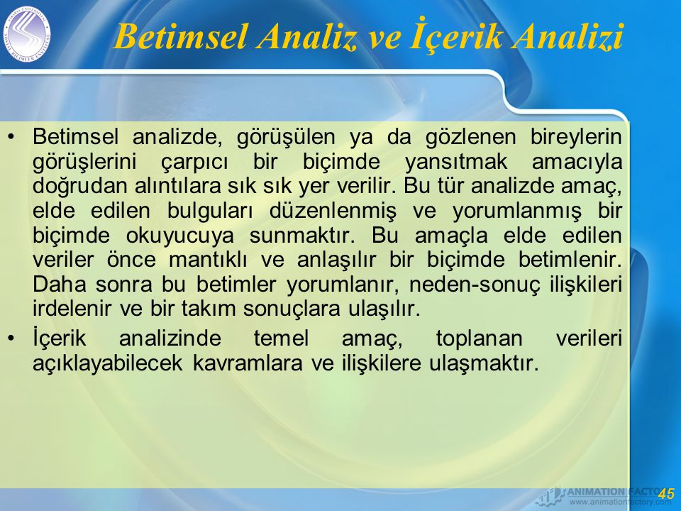 Betimsel Analiz ve İçerik Analizi