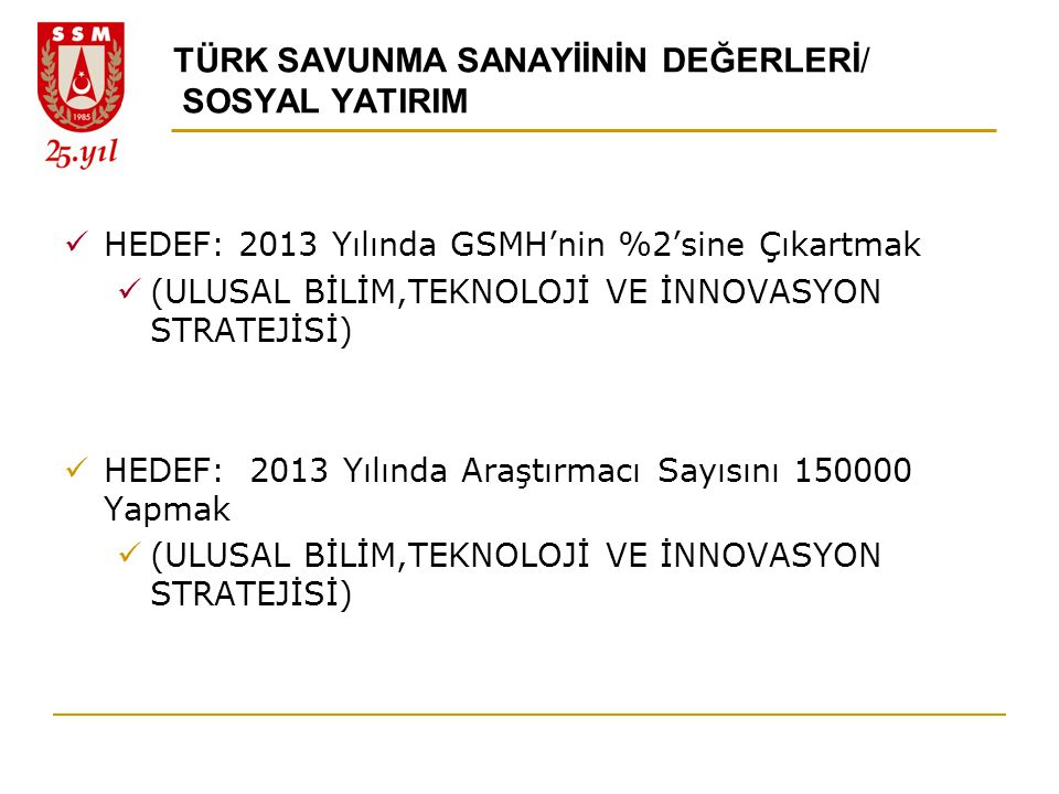 TÜRK SAVUNMA SANAYİİNİN DEĞERLERİ/ SOSYAL YATIRIM