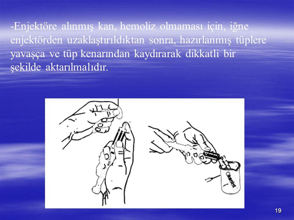 -Enjektöre alınmış kan, hemoliz olmaması için, iğne enjektörden uzaklaştırıldıktan sonra, hazırlanmış tüplere yavaşça ve tüp kenarından kaydırarak dikkatli bir şekilde aktarılmalıdır.