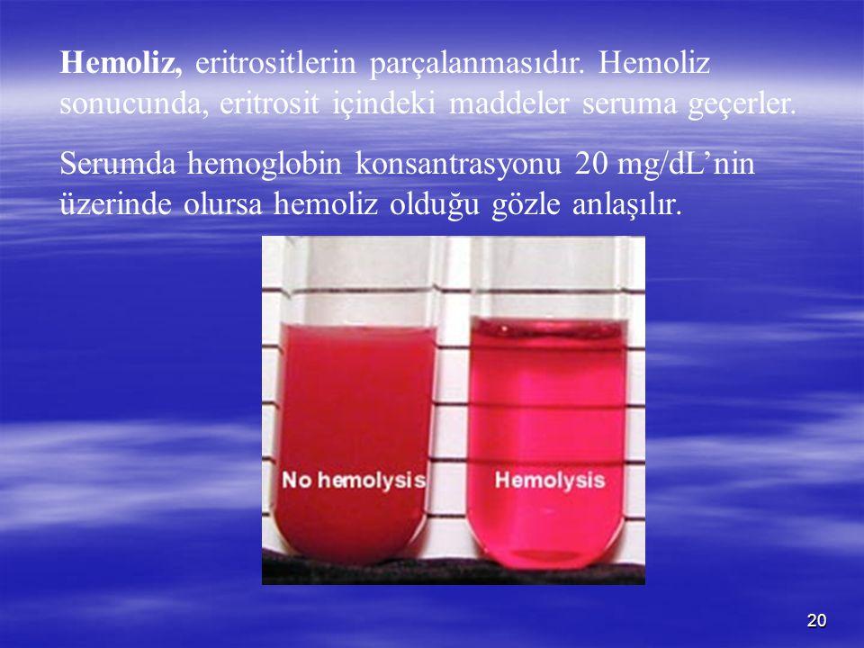 Hemoliz, eritrositlerin parçalanmasıdır
