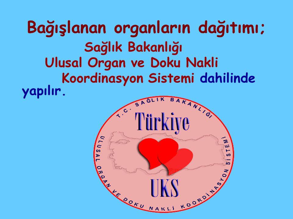 Bağışlanan organların dağıtımı;