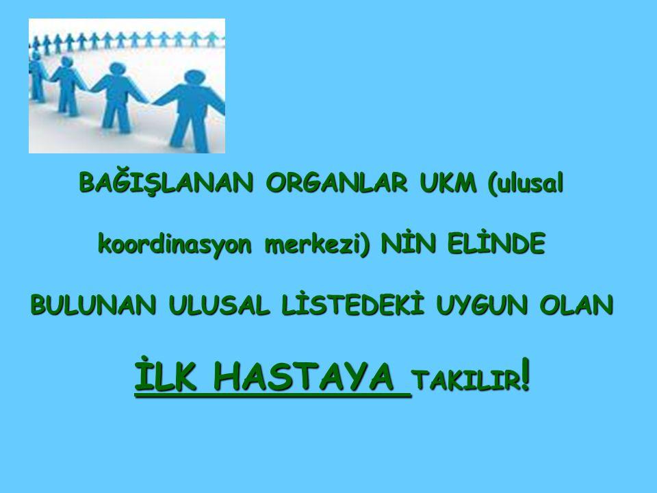 BAĞIŞLANAN ORGANLAR UKM (ulusal koordinasyon merkezi) NİN ELİNDE