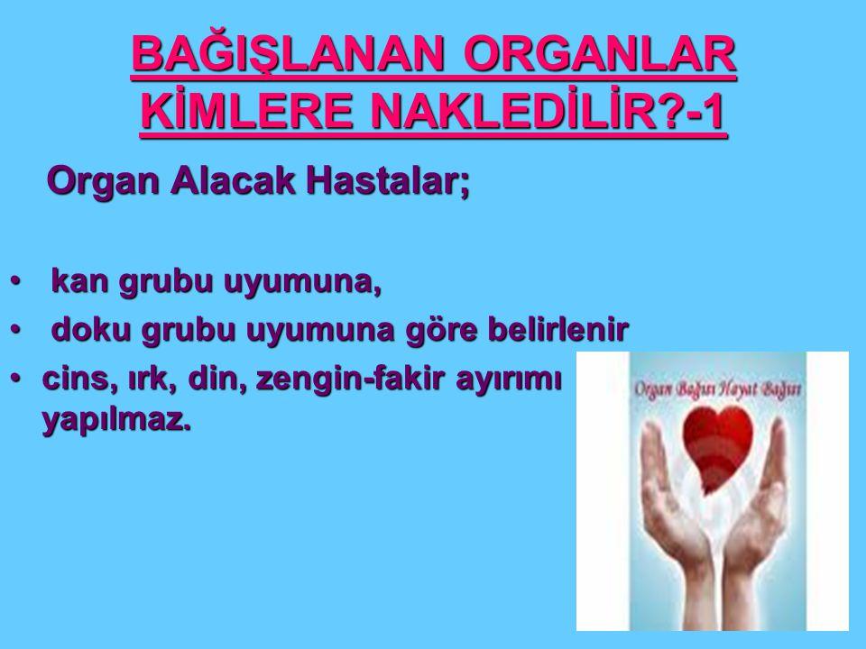 BAĞIŞLANAN ORGANLAR KİMLERE NAKLEDİLİR -1
