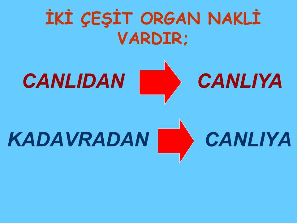 İKİ ÇEŞİT ORGAN NAKLİ VARDIR;