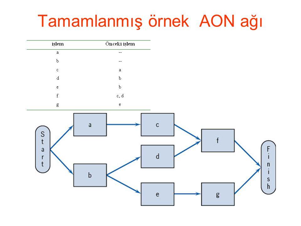 Tamamlanmış örnek AON ağı