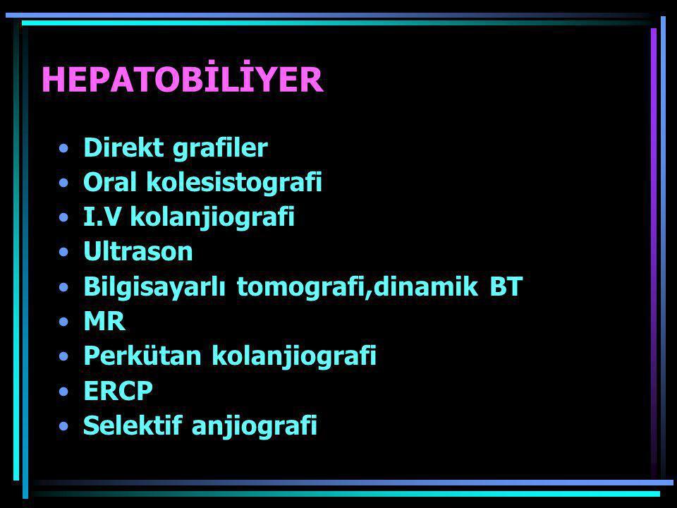 HEPATOBİLİYER Direkt grafiler Oral kolesistografi I.V kolanjiografi