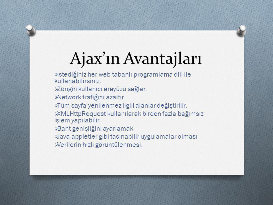 Ajax'ın Avantajları İstediğiniz her web tabanlı programlama dili ile kullanabilirsiniz. Zengin kullanıcı arayüzü sağlar.