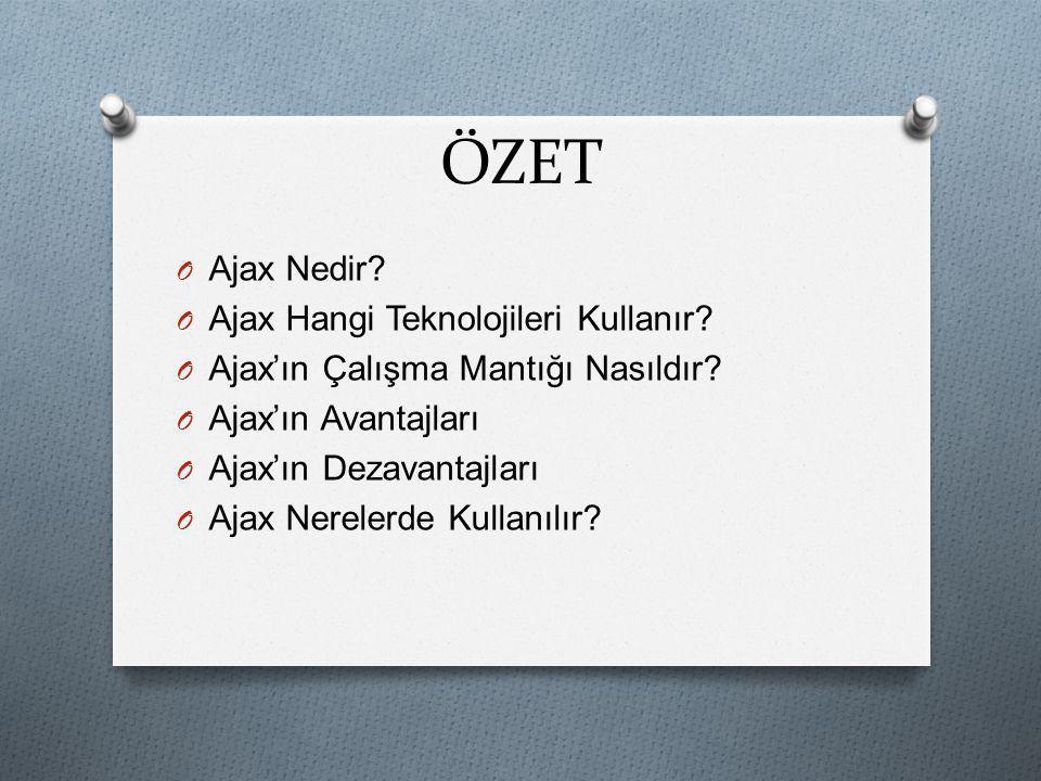 ÖZET Ajax Nedir Ajax Hangi Teknolojileri Kullanır