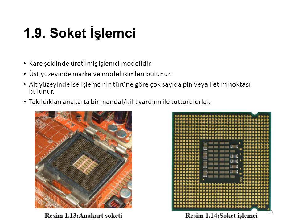 1.9. Soket İşlemci Kare şeklinde üretilmiş işlemci modelidir.