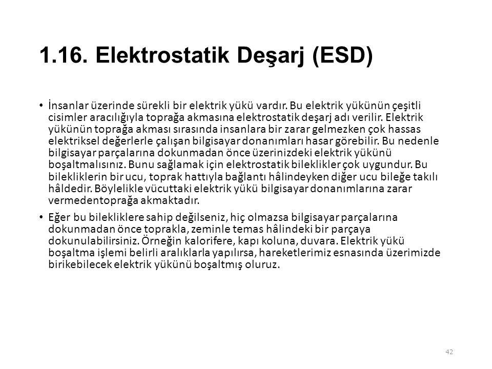 1.16. Elektrostatik Deşarj (ESD)