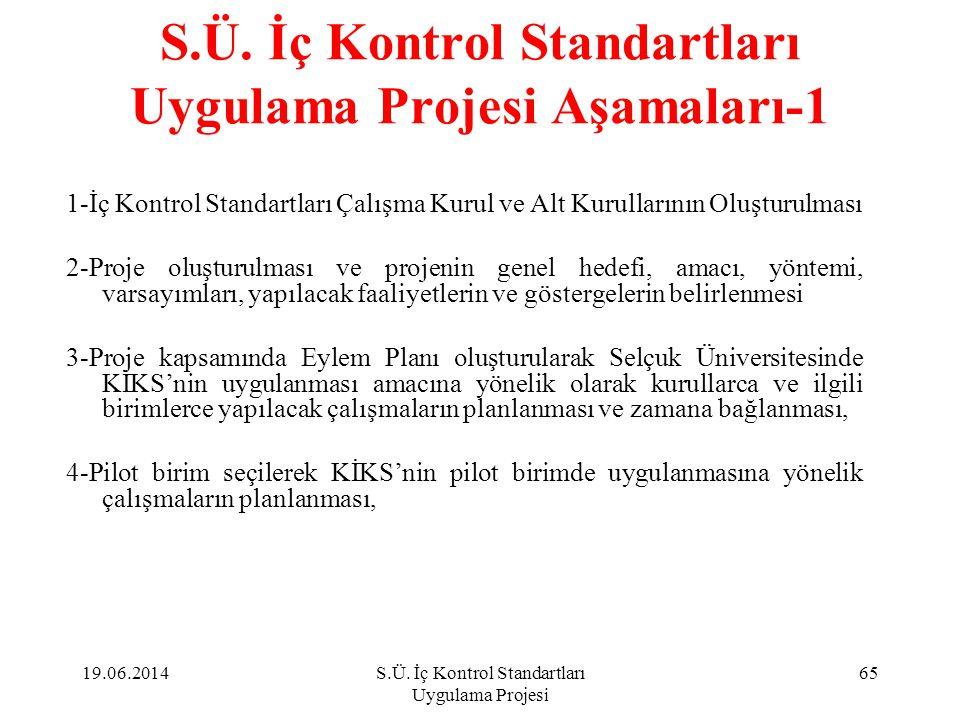 S.Ü. İç Kontrol Standartları Uygulama Projesi Aşamaları-1