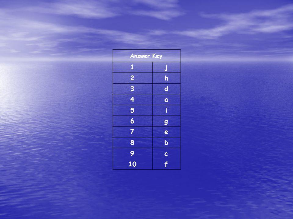 Answer Key 1 j 2 h 3 d 4 a 5 i 6 g 7 e 8 b 9 c 10 f