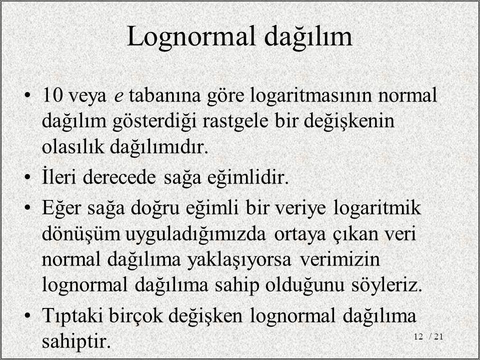 Lognormal dağılım 10 veya e tabanına göre logaritmasının normal dağılım gösterdiği rastgele bir değişkenin olasılık dağılımıdır.