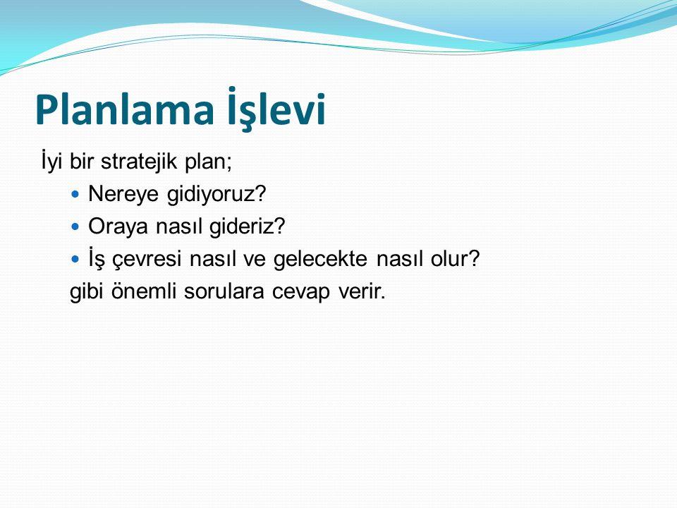 Planlama İşlevi İyi bir stratejik plan; Nereye gidiyoruz