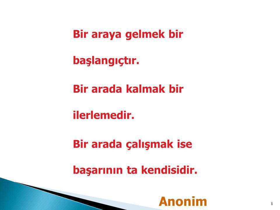 Anonim Bir araya gelmek bir başlangıçtır.