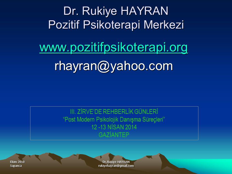 Dr. Rukiye HAYRAN Pozitif Psikoterapi Merkezi