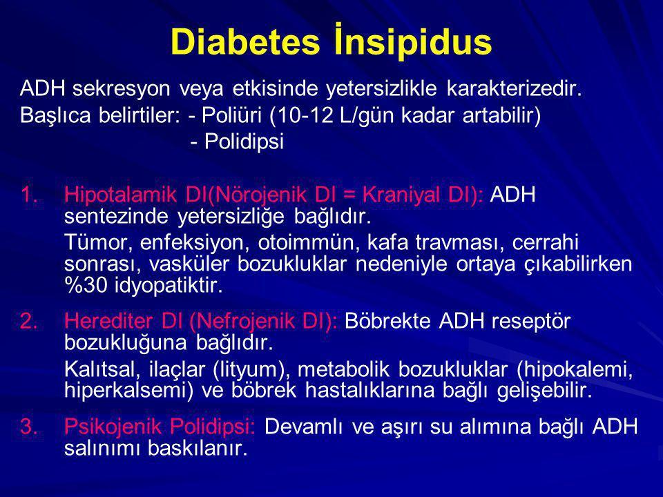Diabetes İnsipidus ADH sekresyon veya etkisinde yetersizlikle karakterizedir. Başlıca belirtiler: - Poliüri (10-12 L/gün kadar artabilir)