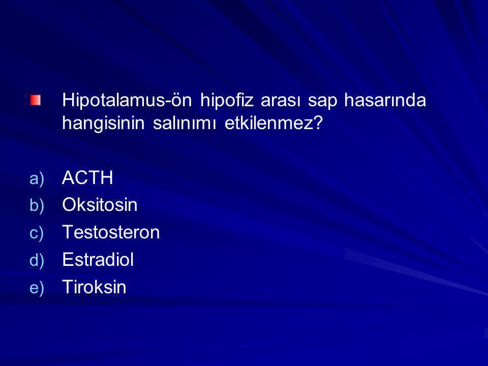 Hipotalamus-ön hipofiz arası sap hasarında hangisinin salınımı etkilenmez