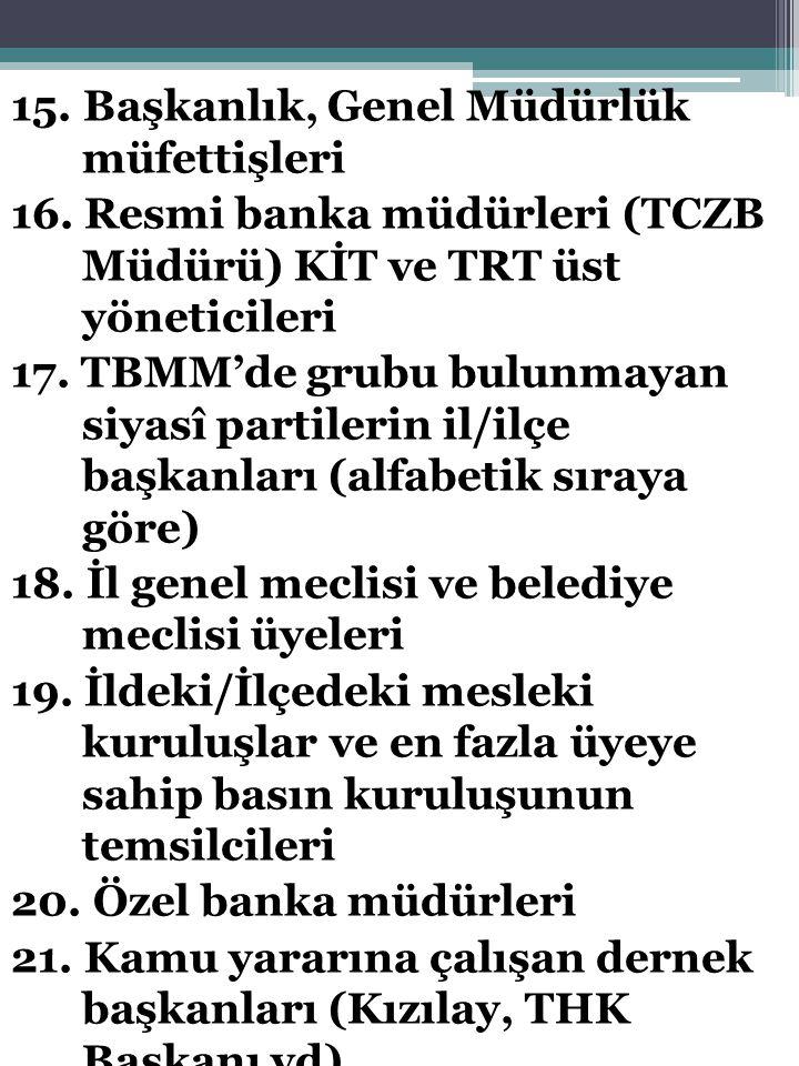 15. Başkanlık, Genel Müdürlük müfettişleri