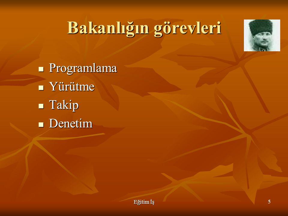 Bakanlığın görevleri Programlama Yürütme Takip Denetim Eğitim İş