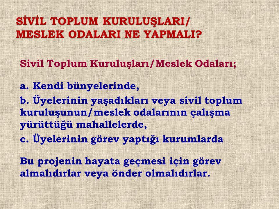 SİVİL TOPLUM KURULUŞLARI/ MESLEK ODALARI NE YAPMALI