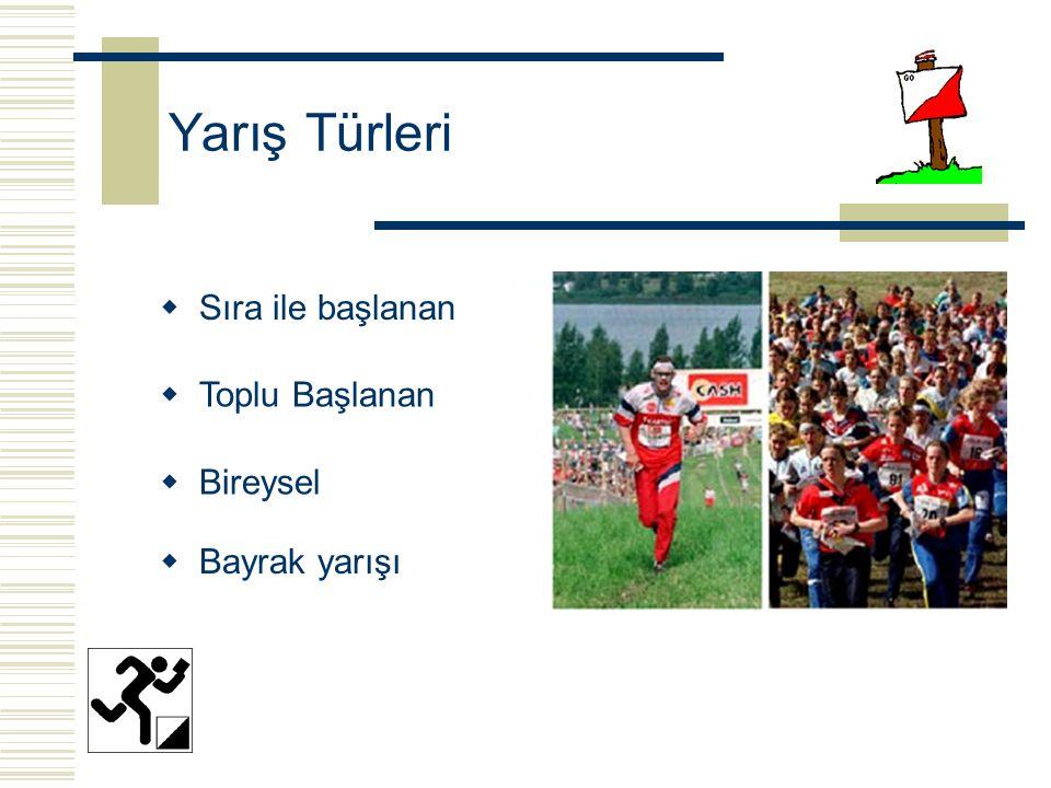 Yarış Türleri Sıra ile başlanan Toplu Başlanan Bireysel Bayrak yarışı