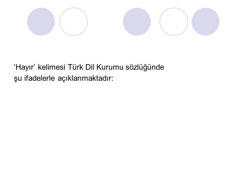 'Hayır' kelimesi Türk Dil Kurumu sözlüğünde