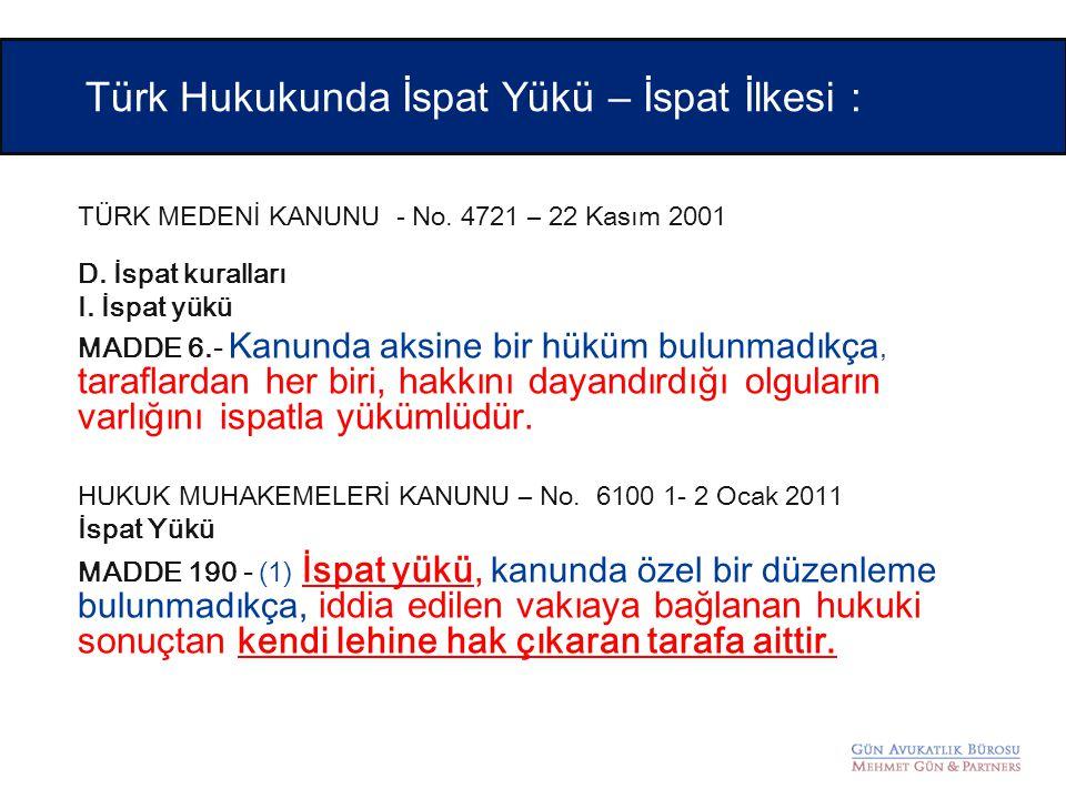 Türk Hukukunda İspat Yükü – İspat İlkesi :