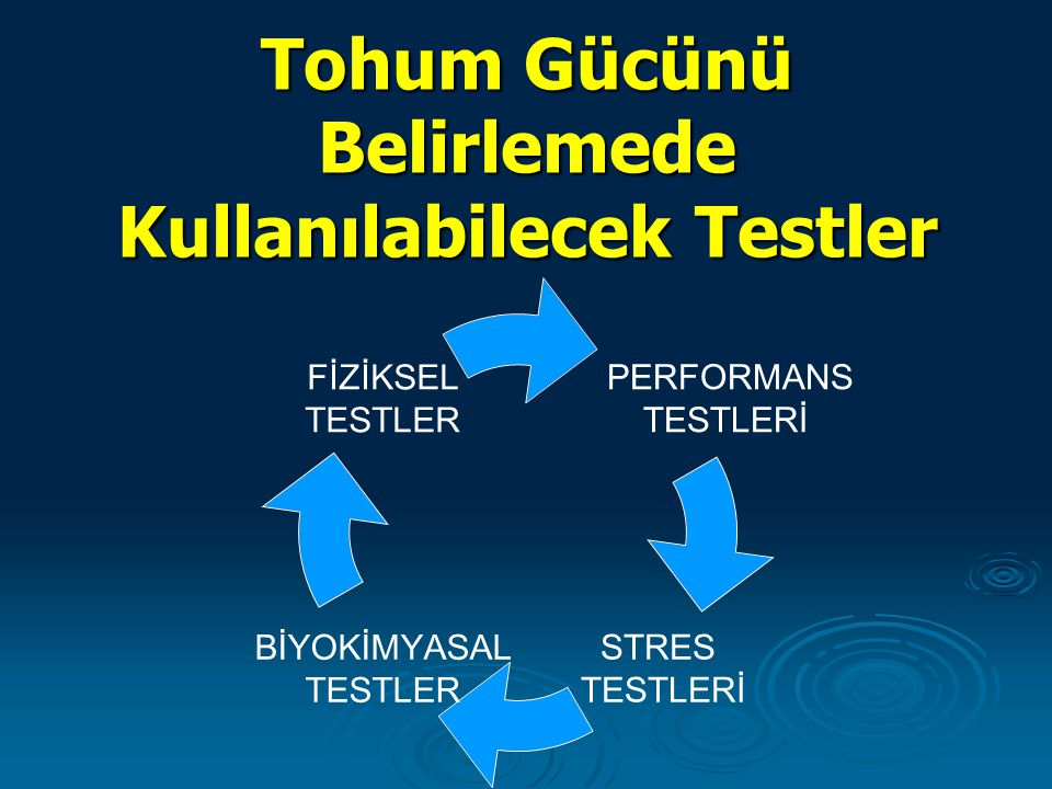 Tohum Gücünü Belirlemede Kullanılabilecek Testler