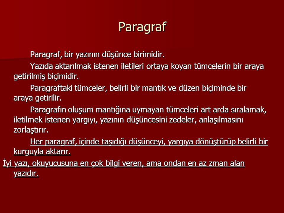 Paragraf Paragraf, bir yazının düşünce birimidir.