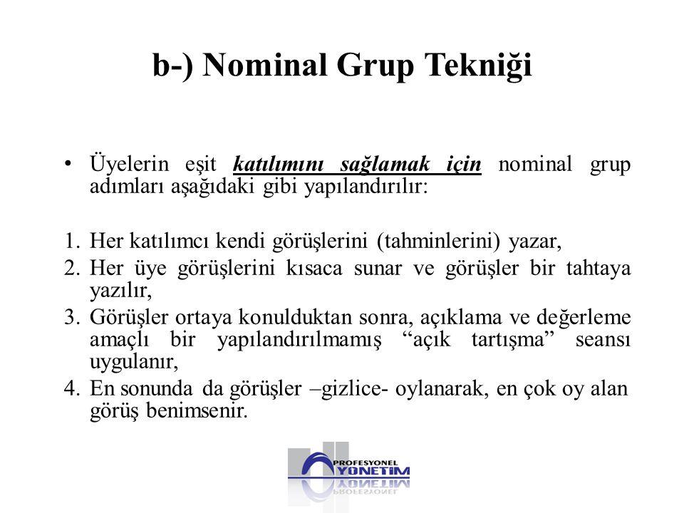 b-) Nominal Grup Tekniği