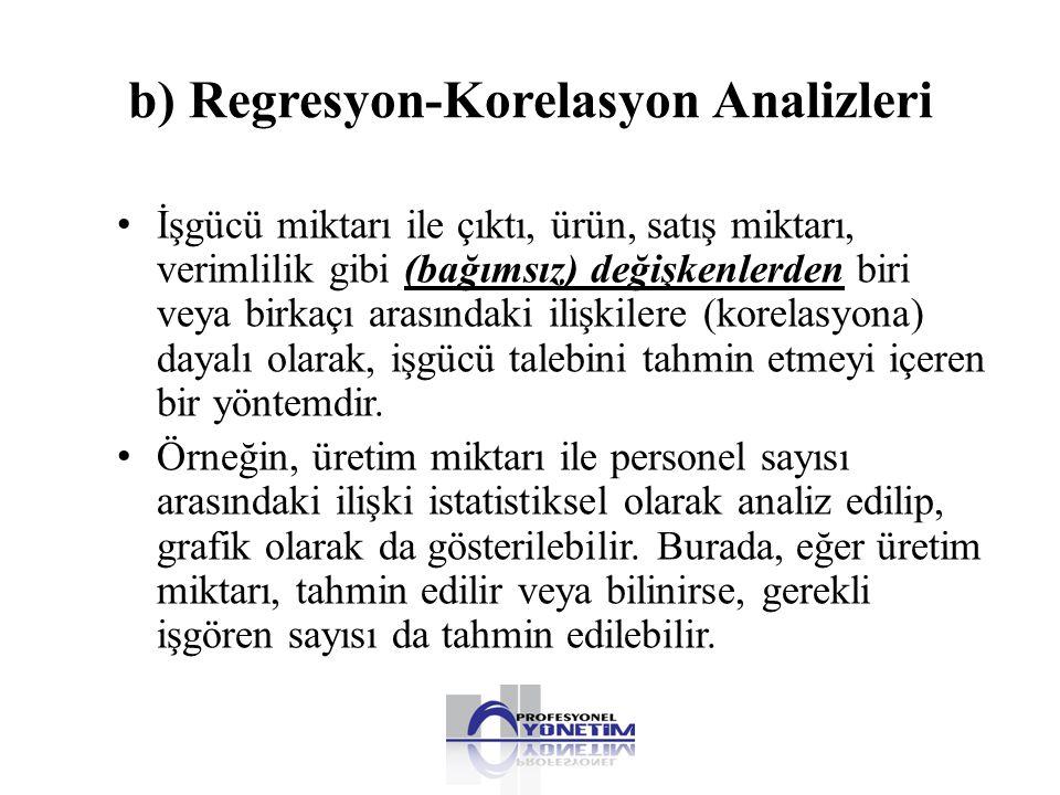 b) Regresyon-Korelasyon Analizleri