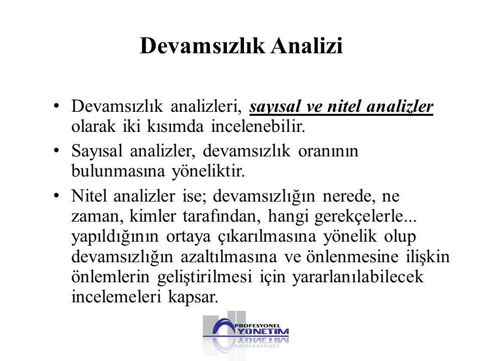 Devamsızlık Analizi Devamsızlık analizleri, sayısal ve nitel analizler olarak iki kısımda incelenebilir.