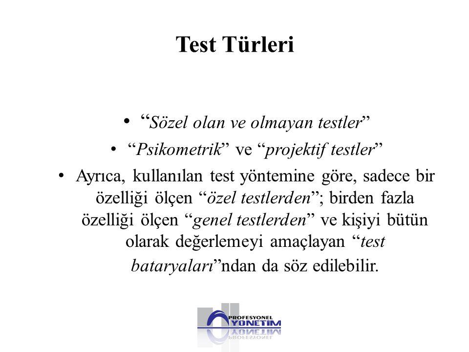 Test Türleri Sözel olan ve olmayan testler