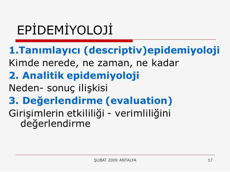 EPİDEMİYOLOJİ 1.Tanımlayıcı (descriptiv)epidemiyoloji