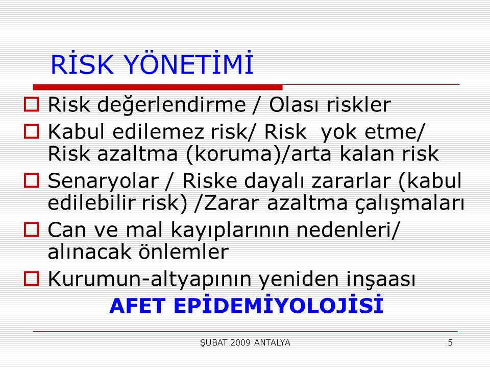 RİSK YÖNETİMİ Risk değerlendirme / Olası riskler